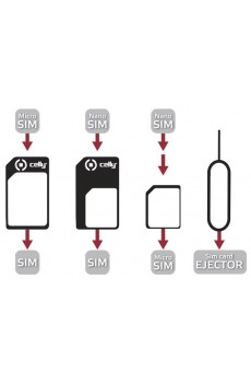 Celly Universal Adapter for Micro SIM to SIM, Nano SIM to SIM, Nano to Micro SIM