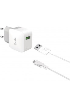 Celly Reiselader 2.4A mit 1 USB Port inkl. Micro USB-Kabel white, 1,0m
