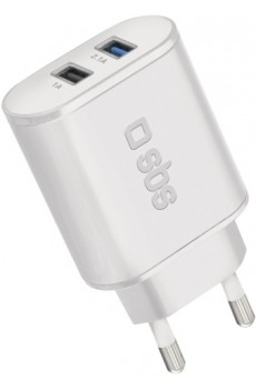 SBS Reiselader 2,1A 2x USB Fast Charge, weiß