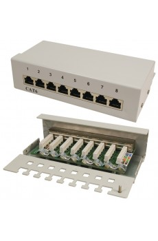 LogiLink - 8-Port Patch Panel - Cat 6 - geschirmt - Desktop Version